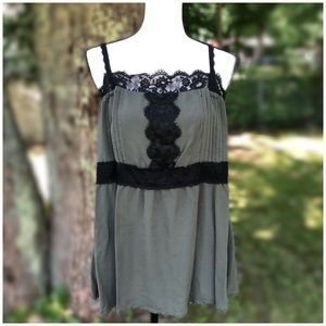 Torrid olive green babydoll top w/black lace trim